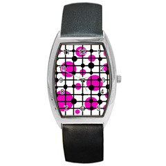 Magenta circles Barrel Style Metal Watch