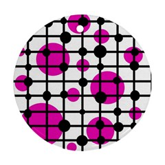 Magenta circles Round Ornament (Two Sides)