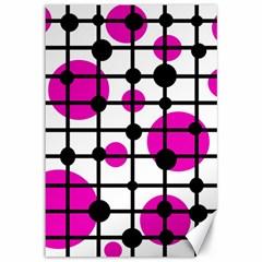 Magenta circles Canvas 12  x 18