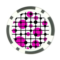 Magenta circles Poker Chip Card Guards (10 pack)