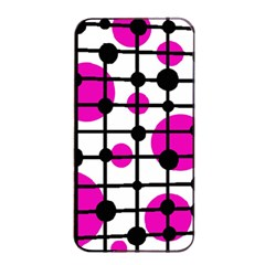 Magenta circles Apple iPhone 4/4s Seamless Case (Black)