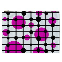 Magenta circles Cosmetic Bag (XXL)