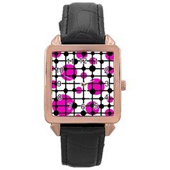 Magenta circles Rose Gold Leather Watch
