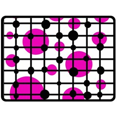 Magenta circles Double Sided Fleece Blanket (Large)