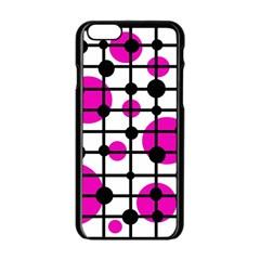 Magenta circles Apple iPhone 6/6S Black Enamel Case