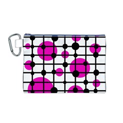 Magenta circles Canvas Cosmetic Bag (M)