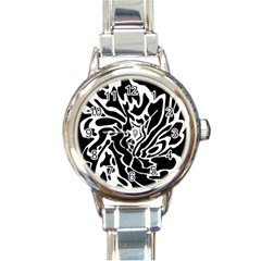 Black and white decor Round Italian Charm Watch