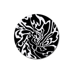 Black and white decor Rubber Round Coaster (4 pack)