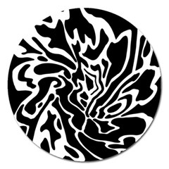 Black and white decor Magnet 5  (Round)