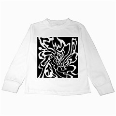 Black and white decor Kids Long Sleeve T-Shirts