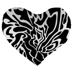 Black and white decor Large 19  Premium Flano Heart Shape Cushions