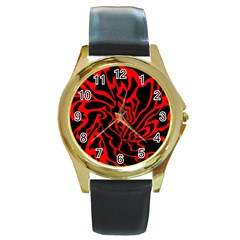 Red and black decor Round Gold Metal Watch