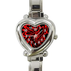 Red and black decor Heart Italian Charm Watch