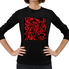 Red and black decor Women s Long Sleeve Dark T-Shirts