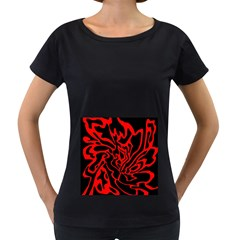 Red and black decor Women s Loose-Fit T-Shirt (Black)