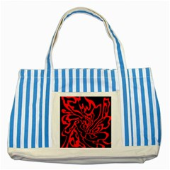 Red and black decor Striped Blue Tote Bag