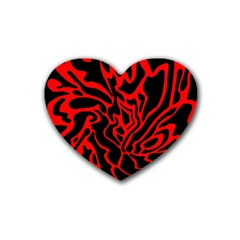Red and black decor Rubber Coaster (Heart)