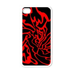 Red and black decor Apple iPhone 4 Case (White)