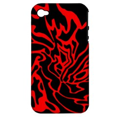 Red and black decor Apple iPhone 4/4S Hardshell Case (PC+Silicone)