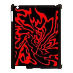 Red and black decor Apple iPad 3/4 Case (Black)