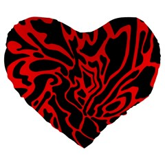 Red and black decor Large 19  Premium Heart Shape Cushions