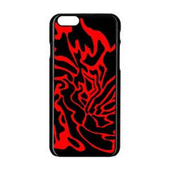 Red and black decor Apple iPhone 6/6S Black Enamel Case