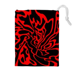 Red and black decor Drawstring Pouches (Extra Large)