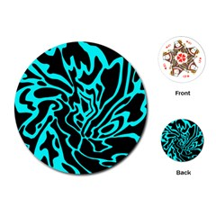 Cyan decor Playing Cards (Round)
