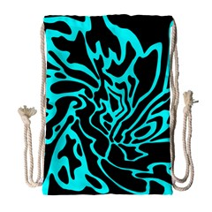 Cyan decor Drawstring Bag (Large)