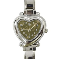 Green Camo Pattern Heart Italian Charm Watch