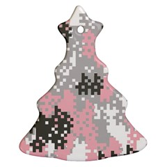 Pink Pixel Camo Pattern Christmas Tree Ornament (2 Sides)
