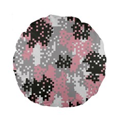Pink Pixel Camo Pattern Standard 15  Premium Flano Round Cushions