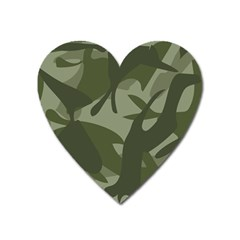 Green Camouflage Pattern Heart Magnet