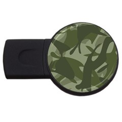 Green Camouflage Pattern USB Flash Drive Round (2 GB)