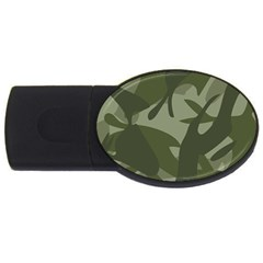 Green Camouflage Pattern USB Flash Drive Oval (1 GB)