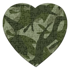 Green Camouflage Pattern Jigsaw Puzzle (Heart)