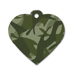 Green Camouflage Pattern Dog Tag Heart (Two Sides)