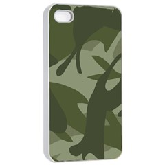 Green Camouflage Pattern Apple iPhone 4/4s Seamless Case (White)