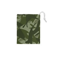 Green Camouflage Pattern Drawstring Pouches (XS)