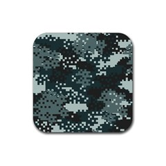 Turquoise Pixel Camo Pattern Rubber Square Coaster (4 pack)