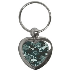 Turquoise Pixel Camo Pattern Key Chains (Heart)