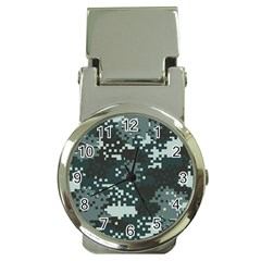 Turquoise Pixel Camo Pattern Money Clip Watches