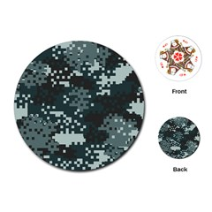 Turquoise Pixel Camo Pattern Playing Cards (Round)