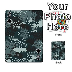 Turquoise Pixel Camo Pattern Playing Cards 54 Designs