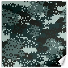 Turquoise Pixel Camo Pattern Canvas 16  x 16