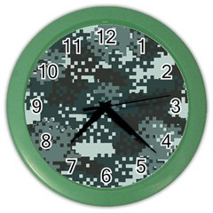 Turquoise Pixel Camo Pattern Color Wall Clocks