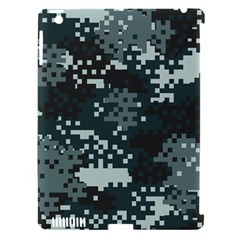 Turquoise Pixel Camo Pattern Apple iPad 3/4 Hardshell Case (Compatible with Smart Cover)