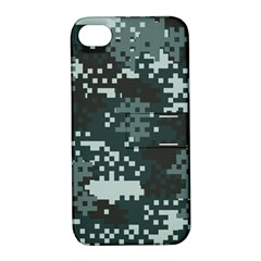 Turquoise Pixel Camo Pattern Apple iPhone 4/4S Hardshell Case with Stand