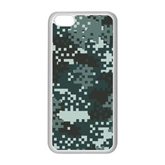 Turquoise Pixel Camo Pattern Apple iPhone 5C Seamless Case (White)