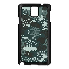 Turquoise Pixel Camo Pattern Samsung Galaxy Note 3 N9005 Case (Black)